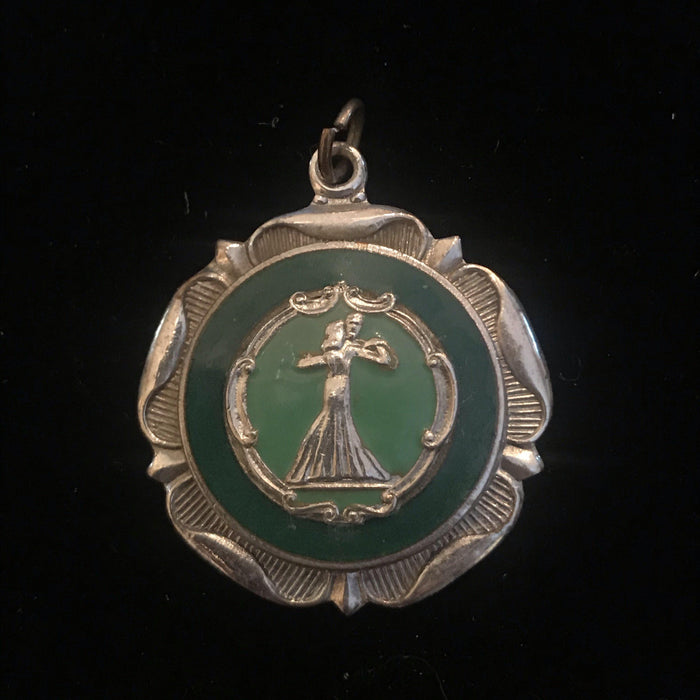 French Vintage Dance Medal with Hook for a Necklace