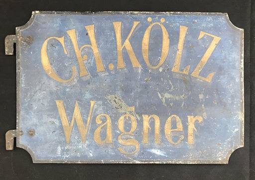 Buy this beautiful two-sided sign is solid metal and the blue has a wonderful patina