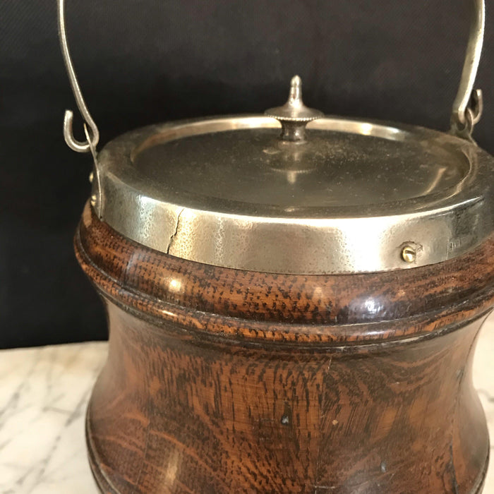 English Oak Biscuit Barrel with Carved Shape