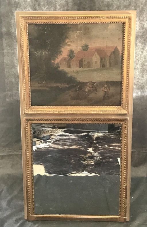 Antique Trumeau Mirror with Super Early Painting on Canvas