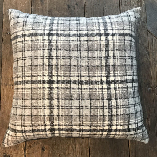 British Plaid Tartan Pillow Gray and White (New) for sale