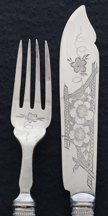 Buy this British Mother of Pearl/Silver Fork and Knife Set (Hallmarked)