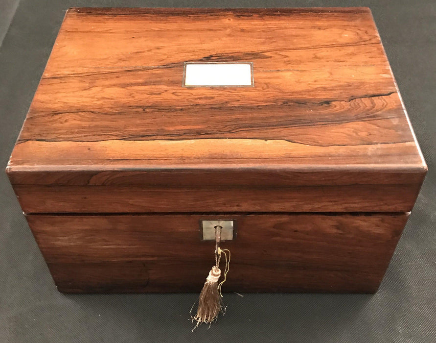 Antique French Walnut Vanity Box with Key and Original Contents Intact