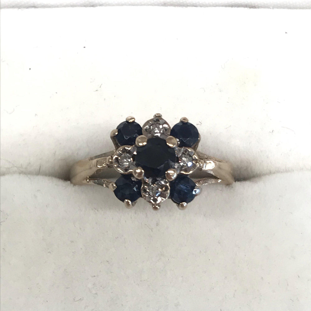 Sapphire and Diamond Cluster Ring from England