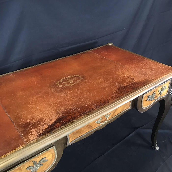 Louis XV Bronze-Mounted Kingwood and Walnut Bureau Plat Desk