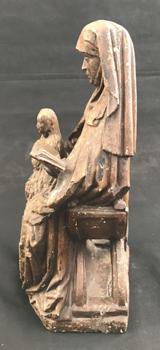 Early Sculptural Figure of Saint/Nun Reading to a Child