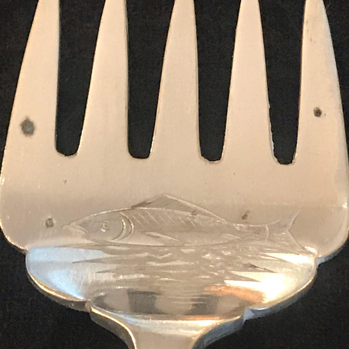 Gorgeous British Silver Fish or Hors d'Oeuvres Fork; Carved Fish on Face