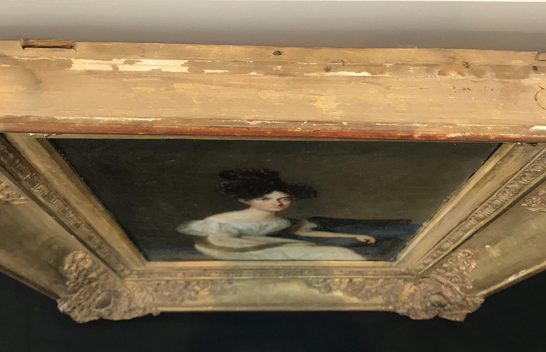 rare antique painting French Early Portrait of Seated Aristocratic Woman with Mink Stole for sale