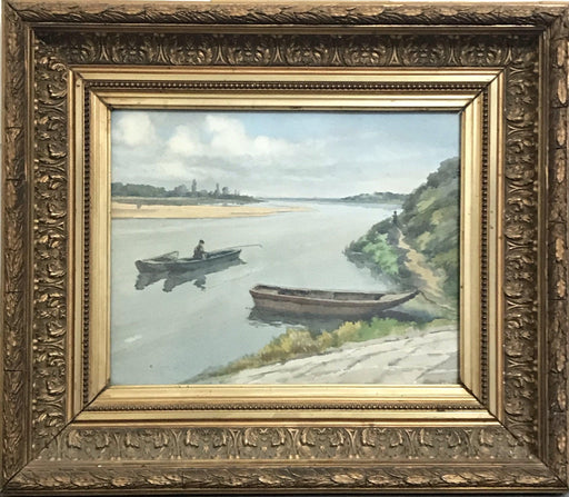 French Signed Watercolor Painting: Fishing Scene on a River
