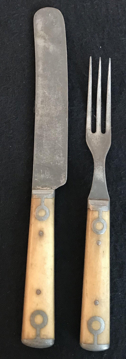 Antique Bone Fork and Knife Set from England - good condition!