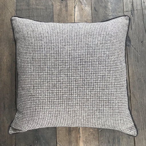 British Brown Houndstooth Wool Pillow with Contrast Piping (New) for sale