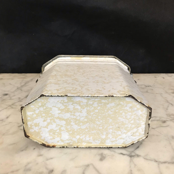 Antique French Enamel Lunch Box - Cream/Ivory