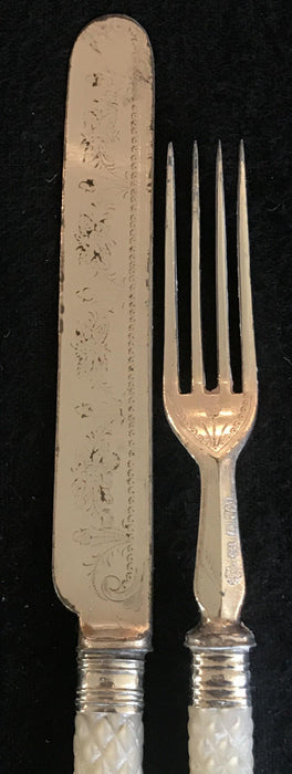 Early Carved Mother of Pearl Fork/Knife set