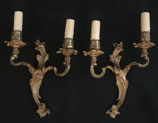 Pair of French Bronze Rococo or Louis XV Style Two-Light Sconces