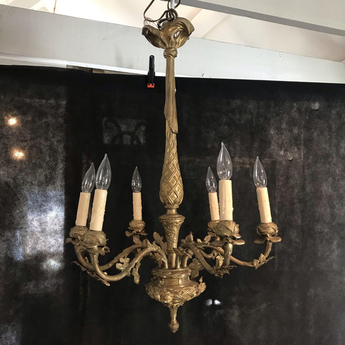 French Gold Gilt Bronze Six-Arm Chandelier