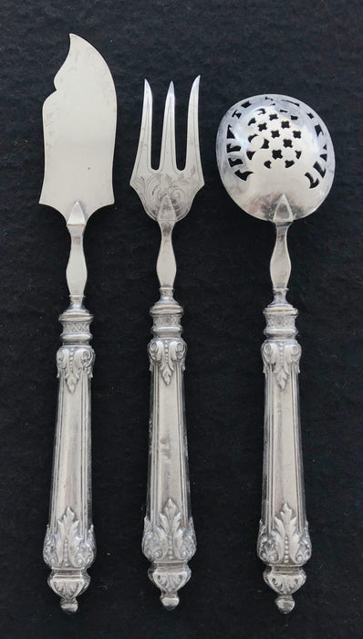 Buy this French Silver Hors D'Oeuvres Set 3 Piece. Gorgeous and detailed!