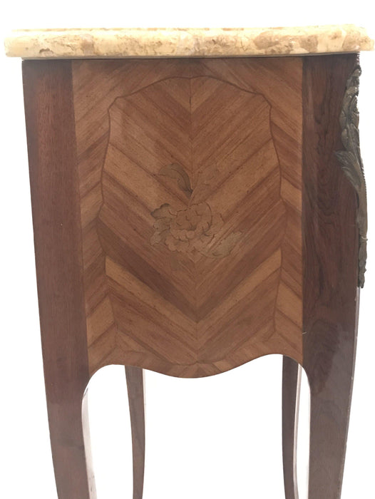 Rare Pair of French Inlaid Two-Drawer Marble Top Nightstands