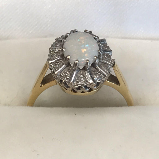 18K Opal and Diamond Ring from England