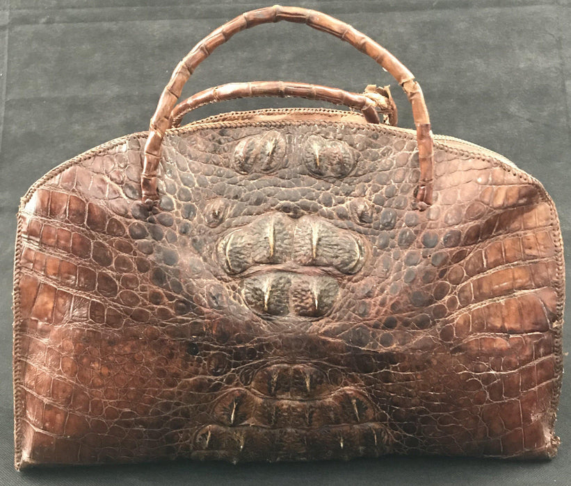 Early 20th century crocodile bag for sale