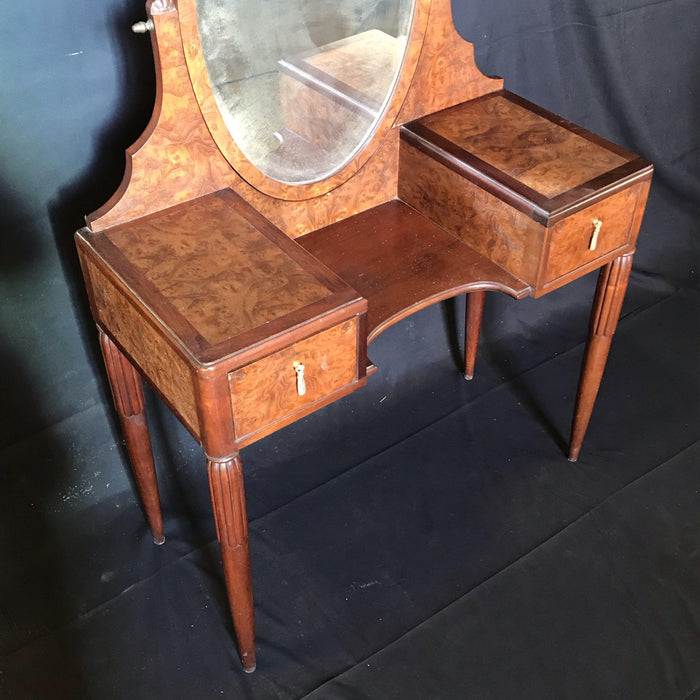 French Burled Walnut Dressing Table with Beveled Mirror
