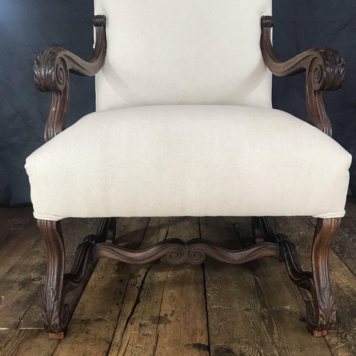 Antique French Walnut Louis XV Arm Chair - Reupholstered