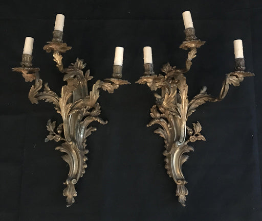 Pair of Significant Period French Gold Gilt Bronze Sconces