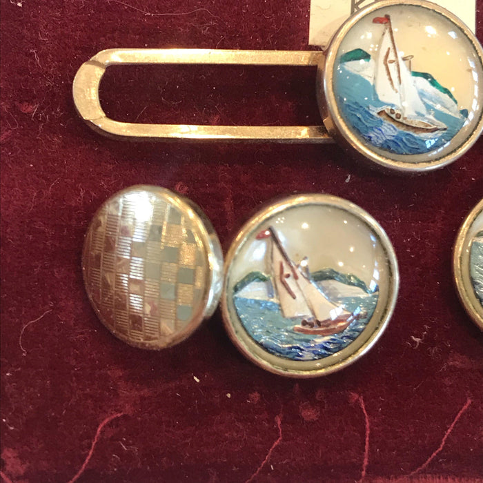 British Stratton's Art Deco Intaglio Sailboat Yacht Cuff Links and Tie Bar or Tie Clip