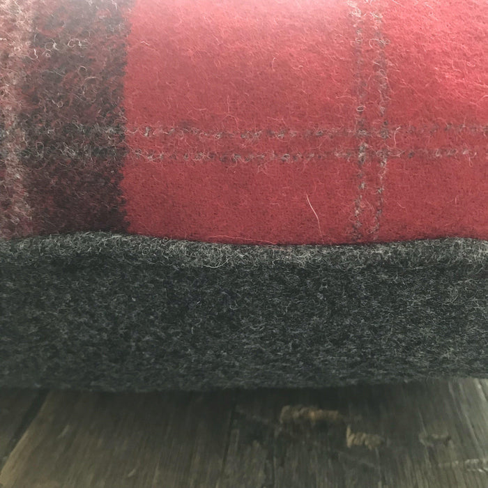 British Tartan Plaid Pillow: Red and Gray Plaid with Gray Flannel Piping and Reverse