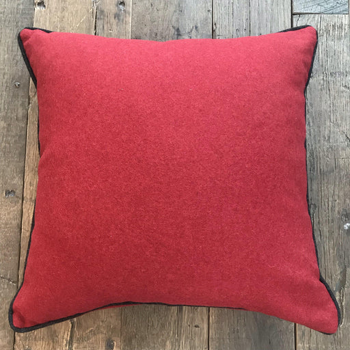 British Traditional Red Flannel Wool Pillow with Contrasting Black Wool Piping (New) for sale