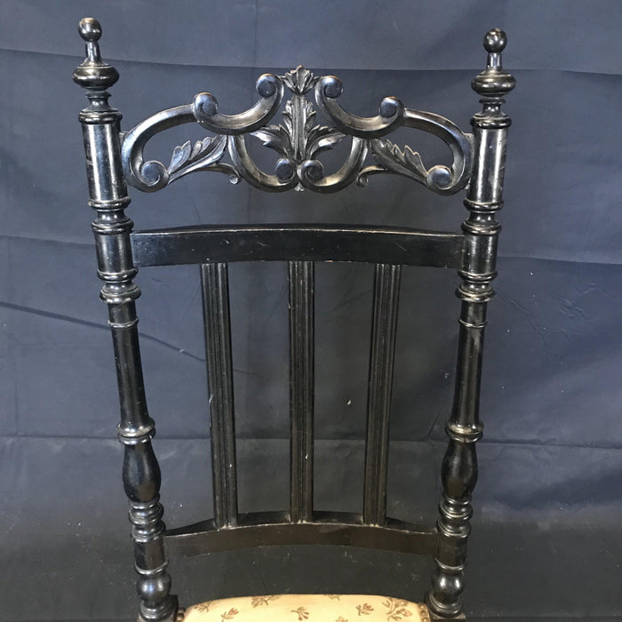 French Carved Ebony Side, Occasional Single Boudoir Chair