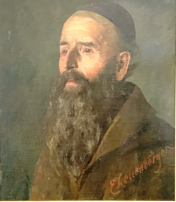 German painting of a rabbi Oil Portrait by listed artist Ernst Otto Leuenberger (1856-1937)