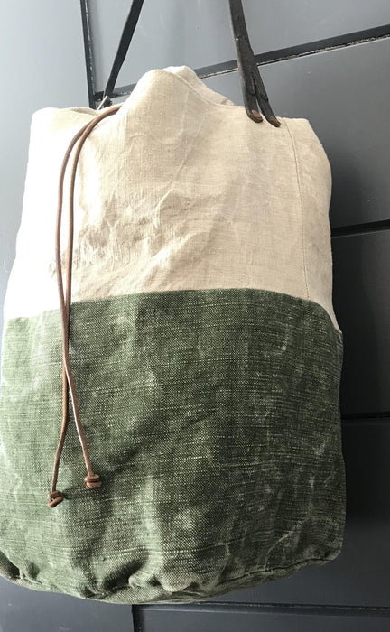 Antique French Linen Duffle Bag/Purse with Belgian postal wallet and vintage bridle leather strap for sale