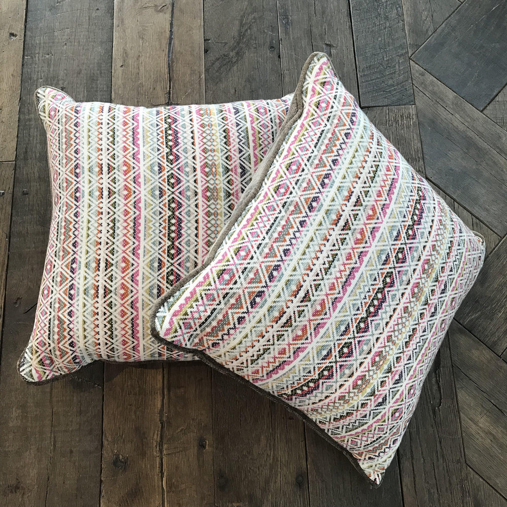 Pair of British Spring Bright Pillows with Contrast Piping and Back for sale