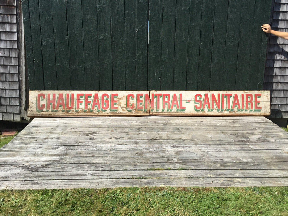 French Large Antique Sign: Chauffage Central Sanitaire