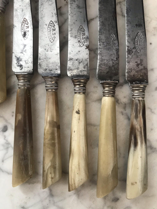 Antique Set of 10 French Silver and Antler Knives: R.S. Sauvagnat