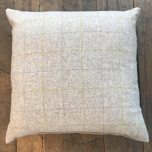 For sale: British Gray Flannel Plaid Pillow, Herringbone on Reverse (New)