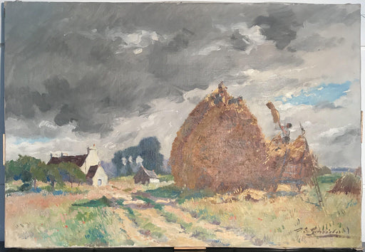 "Antique Impressionist French Oil Painting: ""Haying"" by Listed Artist Louis Edouard Garrido (1893-1982)"