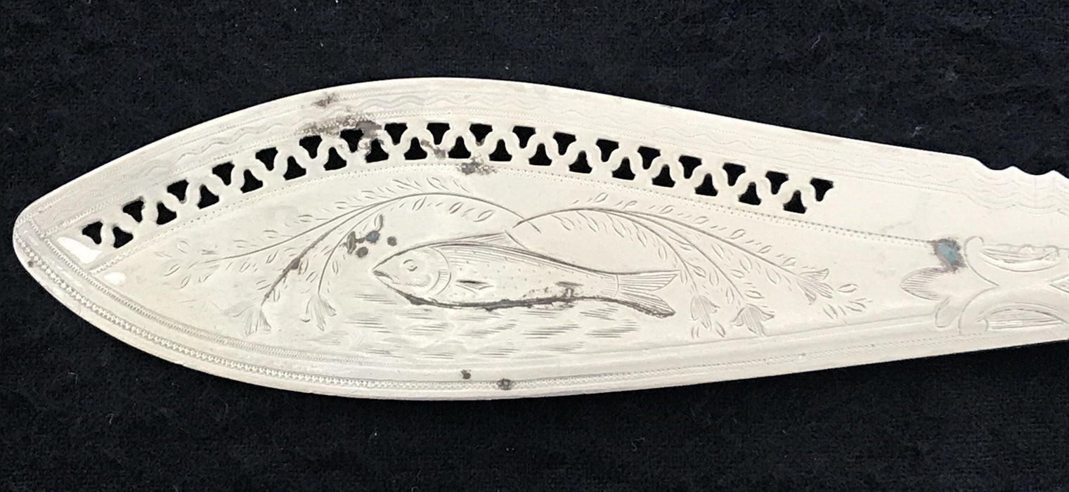 French Antique Silver and Bone Fish Serving Set