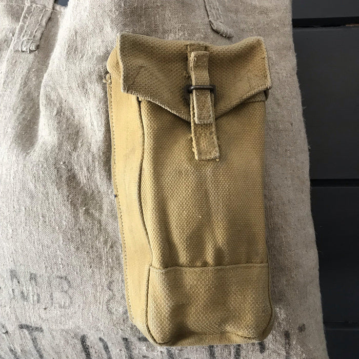 British Postal Canvas Purse/Bag with Military Ammo Pack Outer Pocket, Silver Silk Interior for say