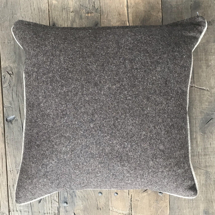 British Traditional Brown Flannel Wool Pillow with Contrasting Light Brown Piping (New) to sell