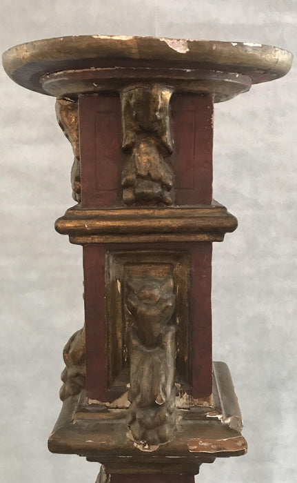 Antique Tall Gold Gilt Painted Italian Church Candelabra/Pedestal