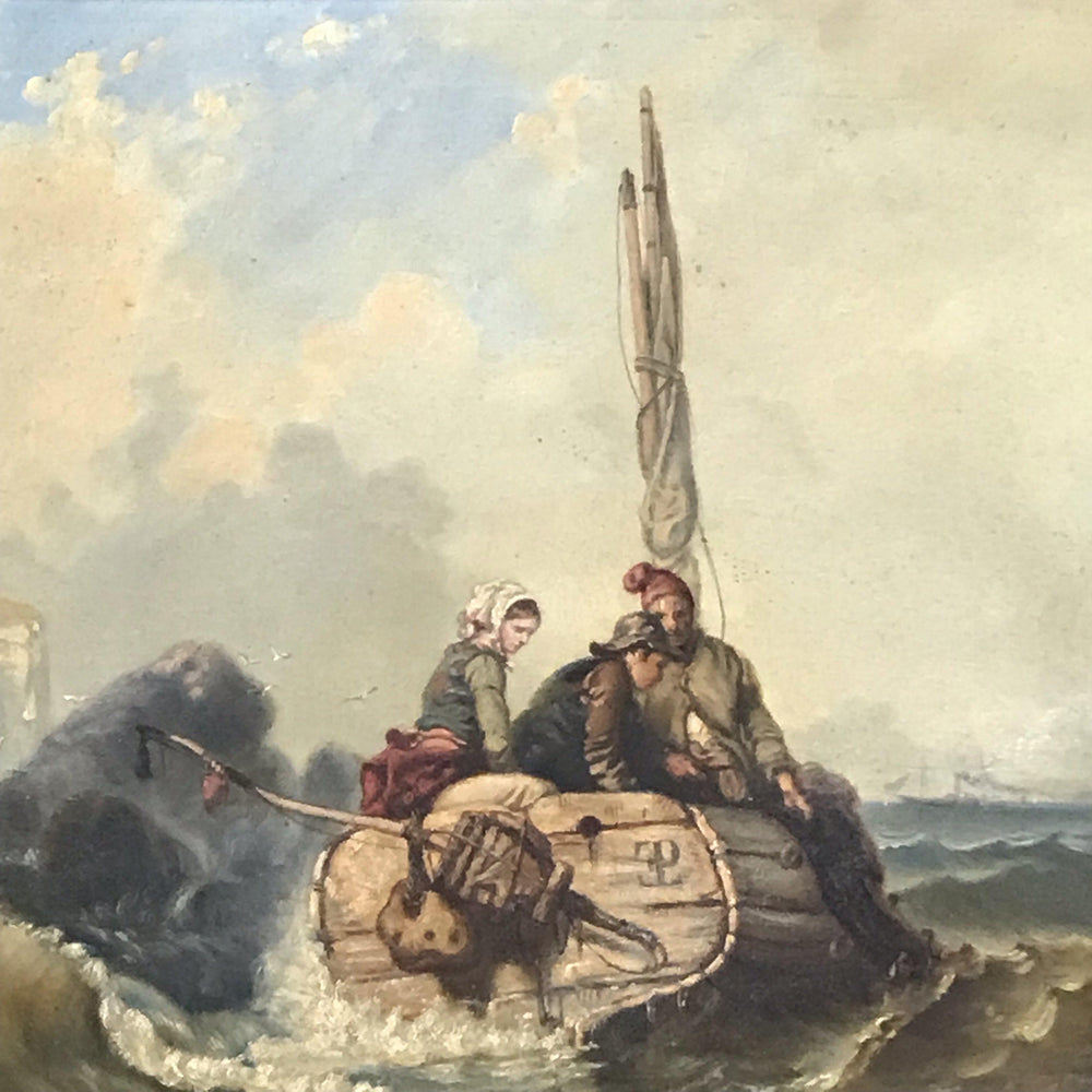 Early French Nautical Oil Painting: La Peche