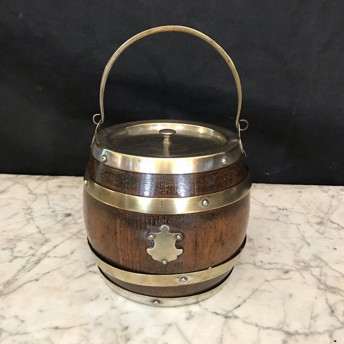 English Oak Biscuit Barrel with Silver Banding and Crest