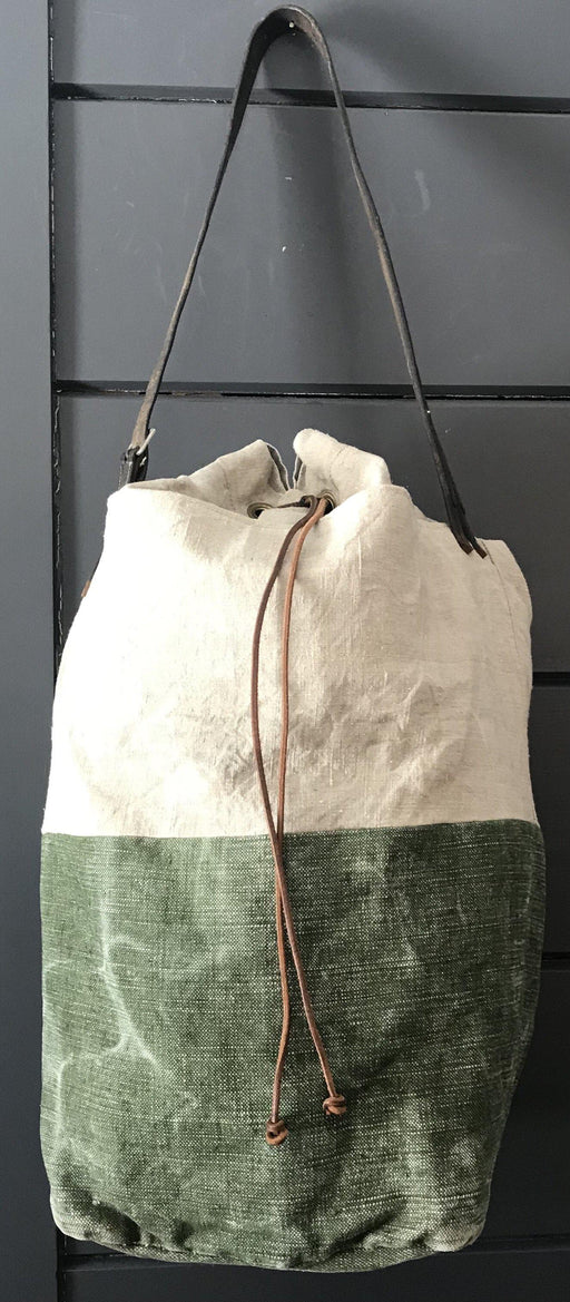 French Linen Duffle Bag/Purse with Belgian postal wallet and vintage bridle leather strap for sale