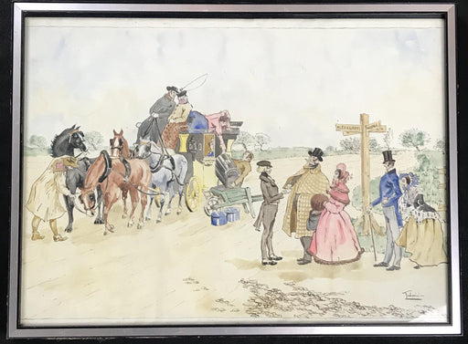 Early Framed British Watercolor Stagecoach Scene signed for sale