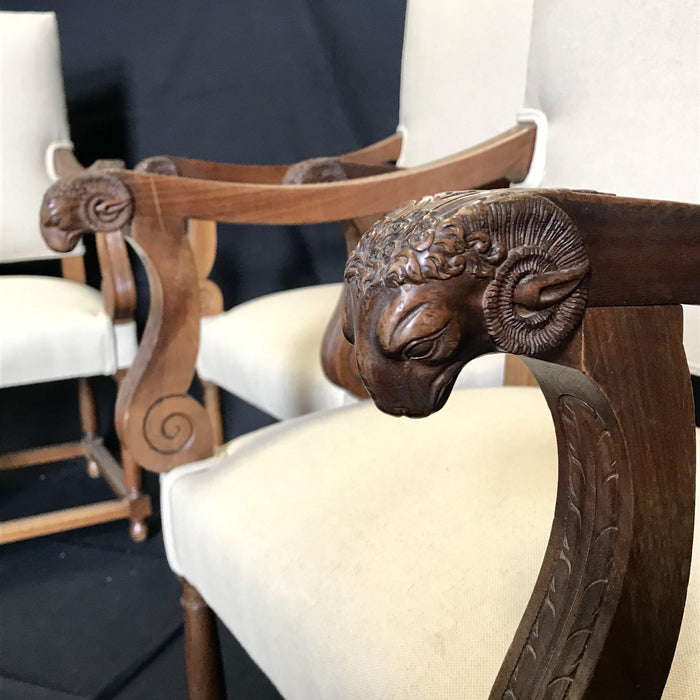 Set of Four Antique French Carved Ram's Head Chairs Newly Reupholstered