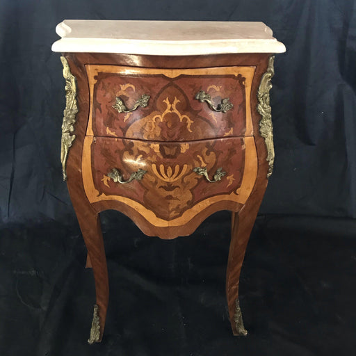 French Louis XV Marquetry Marble Top Nightstand or Side Table with Pale Marble Top
