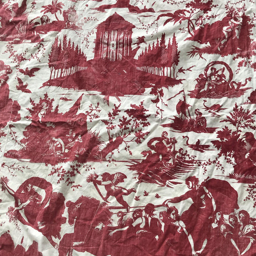 For sale: Early French Crimson and White Toile Bedskirt