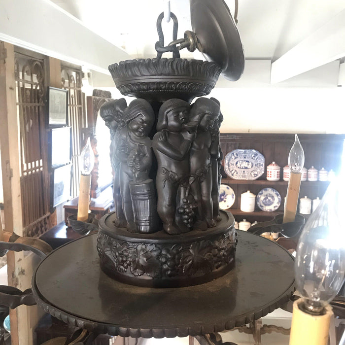 Period Bronze Chandelier Depicting Harvest of the Grapes/Wine Celebration