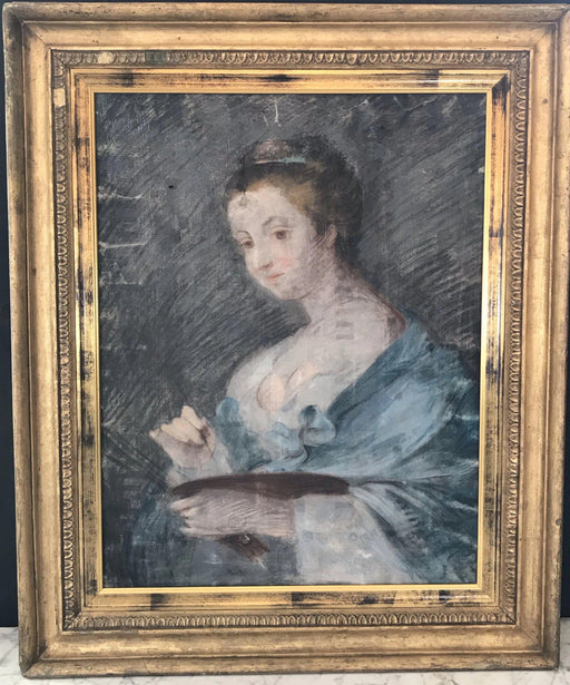 French 18th, possibly 17th Century Super Early Pastel on Vellum in Period Gold Gilt Frame